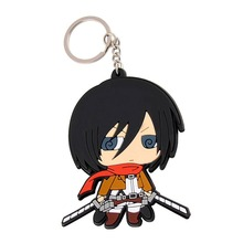 Cute Lovely Japanese Anime Shingeki no Kyojin Attack On Titan Mikasa  Silicone Metal Attractive KeyChains Keychain Figure 8CM