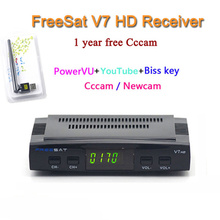 Digital tv satellite decoder Freesat V7 DVB-S2 hd support full powervu youtube with USB wifi 12 months cccam for europe for free