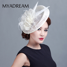 MYADREAM Large Feather Fascinators Sinamay Hats for Women Girls Hair Accessories Elegant Fedora Solid Church Hat Chapeau Gifts(China)