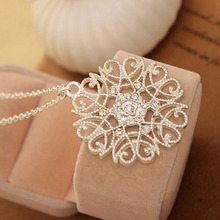 Hot Sale Silvery Black Hollow Flower Pendent Necklace Set Auger Sweater Woman Fashion Jewelry Gift(China)