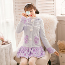 Candy Rain Princess sweet purpl lovely fur coat flower decoration embroidery Single breasted ball top Japan C16CD6218
