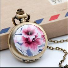 Wholesale buyer price good quality silver enamel Flowers pocket watch chain necklace antibrittle hour clock gift watch