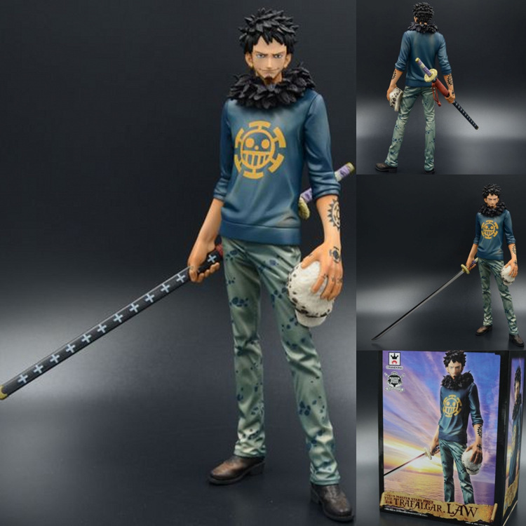 "Anime Cartoon One Piece Death surgeon Trafalgar Law 2 Years PVC Action Figure Collection Model Toy 11"" 27CM Free"