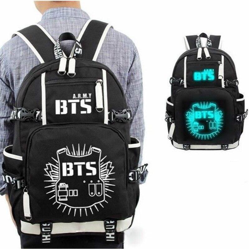 [NEWTALL] KPOP Bangtan Boys Luminous Backpack BTS Shoulder Book Bag Jung Kook Suga V Jimin Fans School Travel Bag 17061013<br>