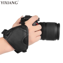 YIXIANG DSLR Camera PU Leather Grip Rapid Wrist Strap Soft Hand Grip Camera Bag Universal for Canon Nikon Sony Olympus Black(China)
