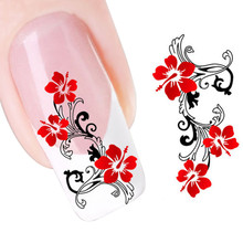 DIY Red Flowers Design Nail Tip Art Water Transfers Decal Sticker 2017 Hot product discount beauty(China)