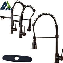 Luxury Single Lever Black Swivel Spout Kitchen Sink Mixers Deck Mounted Spring Pull Down Kitchen Faucet Taps