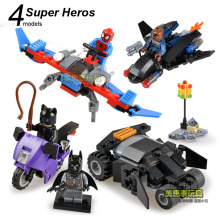 SY 4sets Super Heroes Avengers Spider-Man Nick Batman Catwoman Batgirl Motocycle Car Model minifig Building Blocks Kids Toys