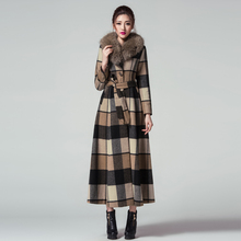 Top Quality Fashion Women Winter Coat Jackets Collect Waist Worsted Long Sleeve Lengthen Long Overcoat Wool Coat(China)