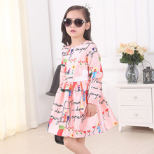 2016 Autumn Winter Style Baby Girls Graffiti Christmas Princess Next Clothes Infant Kids Evening Costume  Party Dresses