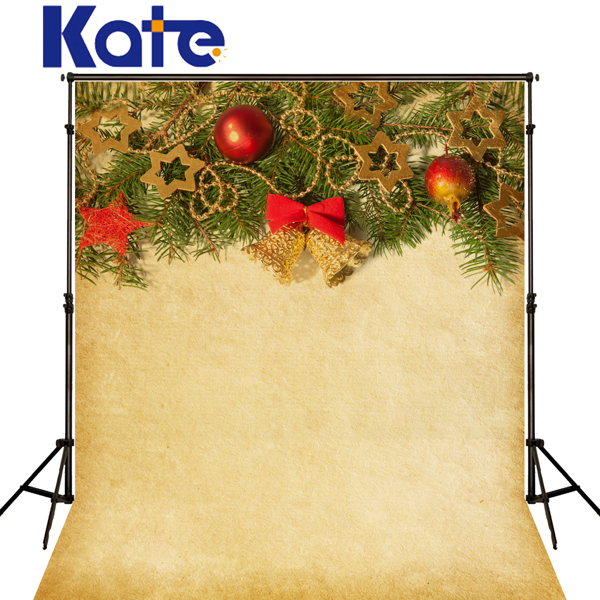 Kate Christmas Backgrounds Photography Red Ball Gold Star Bell Fondo Fotografico De Estudio Solid Yellow Backdrops For Photo<br>