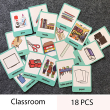18Pcs/Set Classroom/instrument Kids English Word Card Children Learn English Learning Card Game for Early Education Toys(China)
