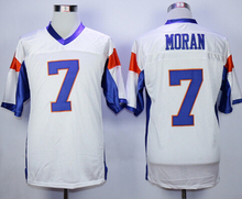 Stitch Mens Blue Mountain State Alex Moran 7 American Football Jersey Blue white S-XXXL