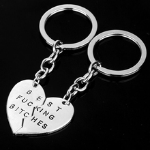 1 Pair!Chaveiro Heart Pendant Pieces Broken Two Best Bitches Friendship Forever Women Keychain Jewelry Llavero Gold Silver