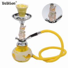 2016 Babilon Premium Yellow Cat Complete Set Small shisha hookah glass smoking pipe Narguile bottle one/two  hose