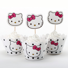 12sets Hello Kitty cartoon paper cupcake wrappers cases baby shower boy decoration for kids birthday party cakecup picks toppers