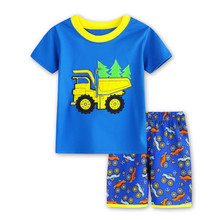 2017 Boy's Clothing Set for Summer Baby Boys pajamas suit Children's popular Cartoon Car Kids sleepwear cotton t-shirts+shorts
