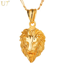U7 Hip Hop Big Lion Head Pendant & Necklace Animal King Vintage Gold/Silver Color Hiphop Chain For Men/Women Jewelry Gift P333