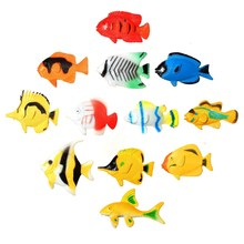 12 pcs Assorted Ocean Pet Figures Party Toy Gift Small Size Sea Life Model Toys PVC Pool Fish Toy Early Education Marine Animals(China)