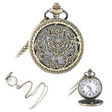 Vintage Butterfly Flower Hollow Out Cover Quartz Pocket Watch Pendant Necklace Sweater Chain Gifts LXH