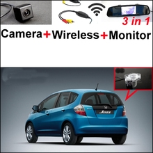 3 in1 Special Rear View Camera + Wireless Receiver + Mirror Monitor Back Up Parking System For Honda Jazz 5D 2002~2013