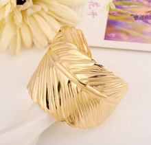 New Fashion Gold And Silver Open Big Leaf Bangles For Women Summer Style bracelets Jewelry