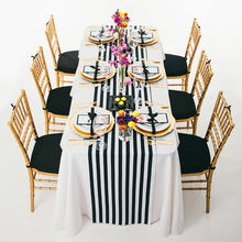 "10pcs 14"" x 108"" Black and White Striped Table Runner For Wedding Table Centerpiece Home Decor"