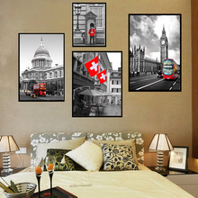 HAOCHU Nordic Modern simple Red bus phone booth guard flag home decoration canvas poster painting living room wall art picture
