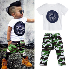 Baby Boys Rock Gesture T-shirt Tops + Camouflage Pants Outfit Infant Fashion Clothes