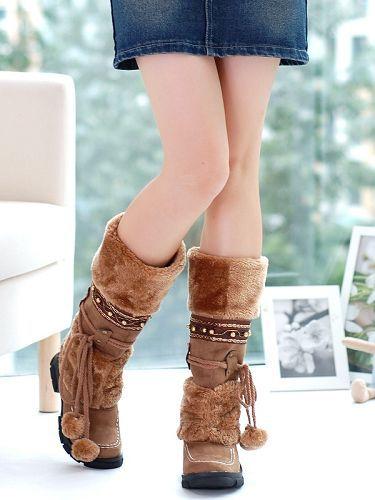 Snow boots Fashion 2017 Plush winter Boots Fur Mid-Calf women Boots Thermal Cotton-padded ugs women Warm boot plush women<br><br>Aliexpress