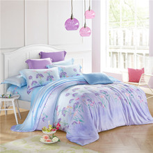 Noble 100% natural tencel silk sweet purple flower field 4pcs home princess sleep bedding set comforter cover bed sheet kit/3605