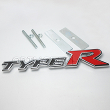 Car Styling TYPER TYPE R Car Front Grille Emblem Badge For Honda City CRV CRZ HRV Accord FIT Odyssey Stream Crider Greiz CIVIC(China)