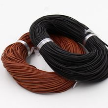 (10m/piece) 2mm Diameter DIY Jewelry Fitting round Matte genuine leather cord(China)