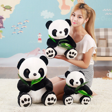 Lovely Chinese panda Plush Toys Sitting position Hold bamboo Soft Animal Stuffed Pillow Doll for kids Birthday Christmas Gift(China)