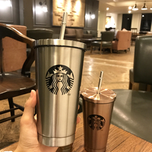 2017 Starbucks straw cup 304 stainless steel adult gradient cup heat preservation large capacity creative accompanying cup