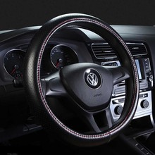 Genuine Leather Steering Wheel Cover Breathable Hole Auto Steering-Wheel Covers For Auto Car Interior Accessories 36/38cm/40cm