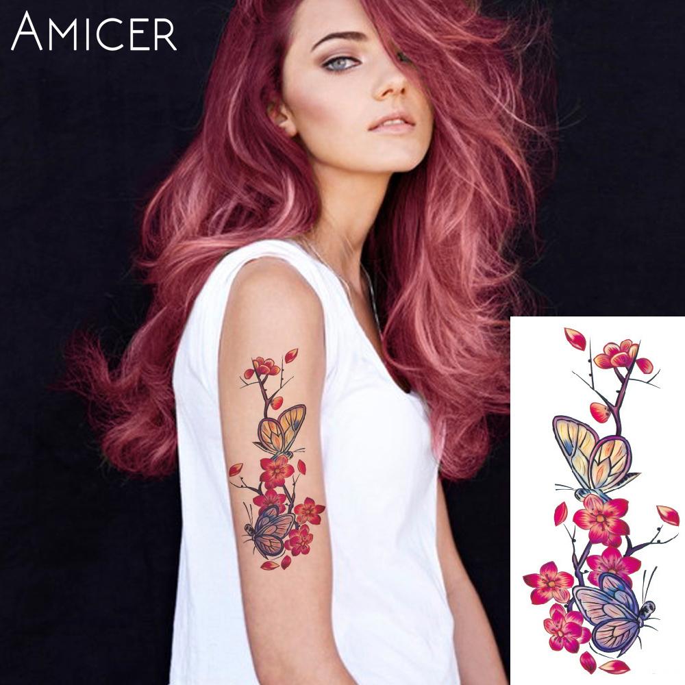 3D lifelike Cherry blossoms rose big flowers Waterproof Temporary tattoos women flash tattoo arm shoulder tattoo stickers 25