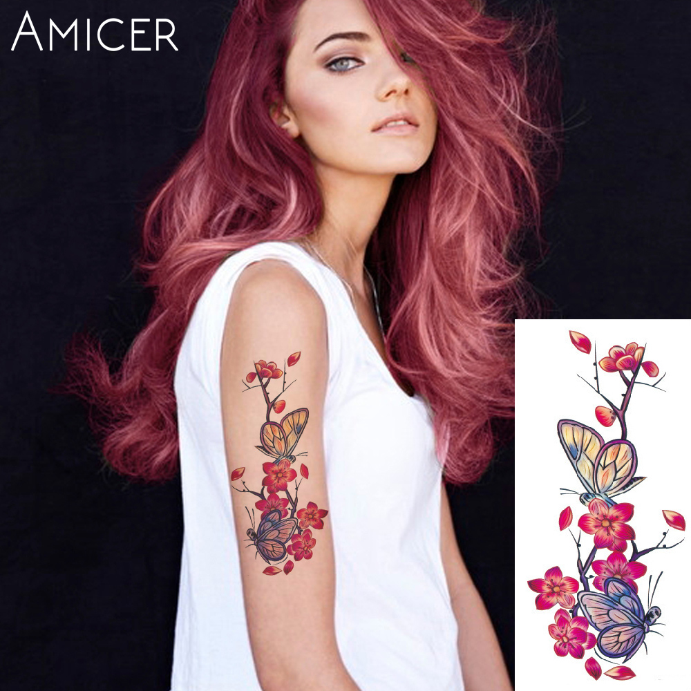 3D lifelike Cherry blossoms rose big flowers Waterproof Temporary tattoos women flash tattoo arm shoulder tattoo stickers 25