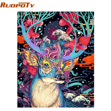RUOPOTY Christmas Deer DIY Painting By Numbers Animals Acrylic Paint By Numbers Handpainted Oil Painting Wall Art Picture 40X50(China)
