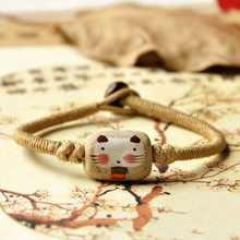 Handmade Folk Style Ceramic Hand Chain Chinese Delicate Porcelain Cut Cat Pattern Jewelry Women Bracelets Bangles(China)