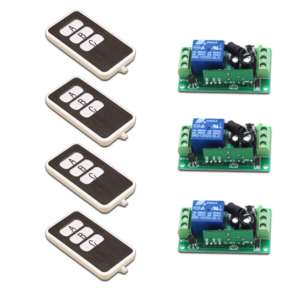 Newest 9V12V24V RF Wireless Remote Control Relay Switch 315/433MHZ Relay Module Learning Code Switch with 3 key Remote Control<br>