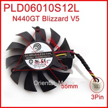 Free Shipping PLD06010S12L 55mm 12V 0.20A 3Wire VGA Fan For MSI N440GT Blizzard V5 Graphics Card Cooler Cooling Fan