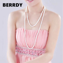FREE SHIPPING Long Sweater Jewelry Winter/Spring/Summer/Autumn Pearl Necklace Knotted Costume Jewellery Cheap on Sale!!!(China)