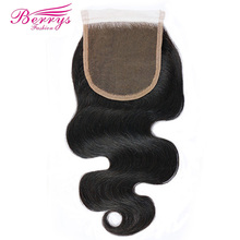 [Berrys Fashion] Lace Closure Body Wave Bleached Knots 4*4 Lace Unprocessed Virgin Human Hair Free Part Brazilian Body Closure(China)