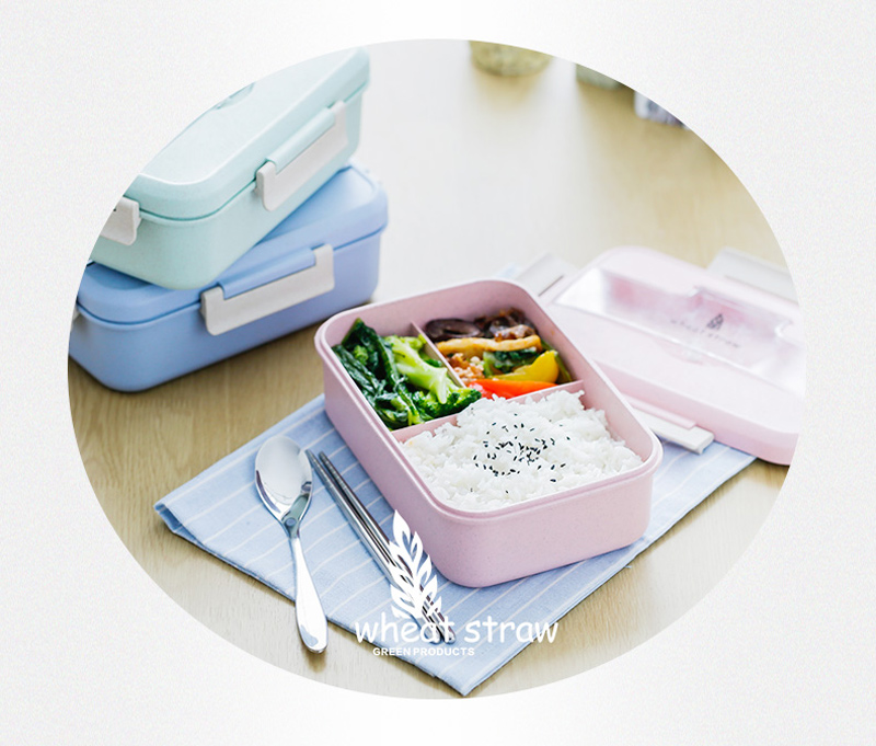 Japanese Style Plastic Wheat Straw Bento Lunchbox Portable Kids School Student Lunch Boxs Modern Picnic Camping Food Container19