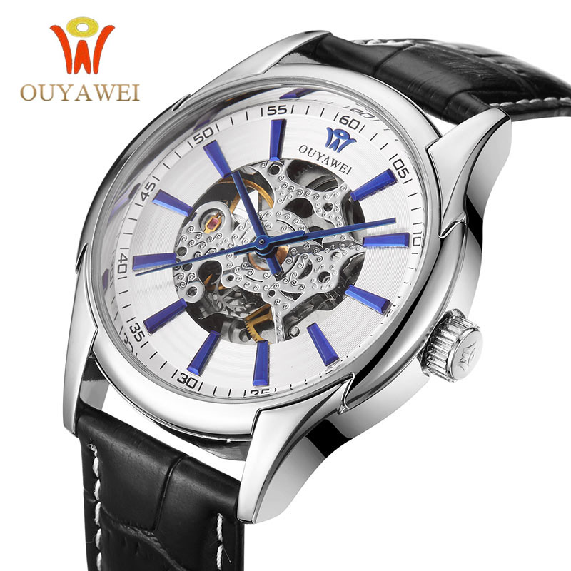HOT OUYAWEI Mechanical Watch Mens Skeleton wristwatch Man watches Leather Relogio Masculino Luxury Fashion Casual Wrist Watch<br><br>Aliexpress