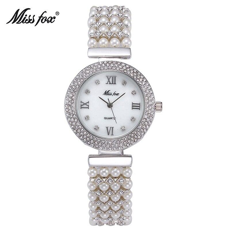 MissFox Pearl Womens Simple Relogio Feminino Dourado Bracelet Watch Diamond Quartz Wristwatch Gift<br>