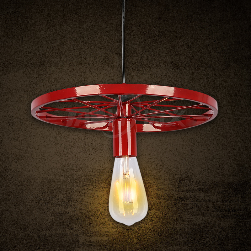 Loft warehouse vintage pendant lights iron round red lamp decoration for bar coffee dining room kitchen light E27 holder<br>