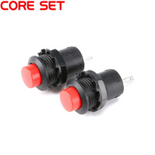 10Pcs/Set Round Switch Button 250V/1.5A Light Switch Self-locking DS-428 DIY Touch Switch RED