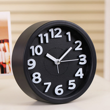 Modern Small Round Alarm Clock Desk Table Desktop Time Quartz Clock Simple Style Bedroom Office Bedside Clock For Children Kids